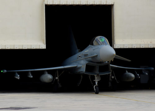 A German Eurofighter Typhoon taxis out of a hardened shelter to begin the first sortie of the day at Uvda Air Force Base, Israel, Nov. 8, during Blue Flag 17. Exercises like Blue Flag further strengthen the relationships between participating nations and promote regional peace and stability. (U.S. Air Force photo/Senior Airman Abby L. Finkel)