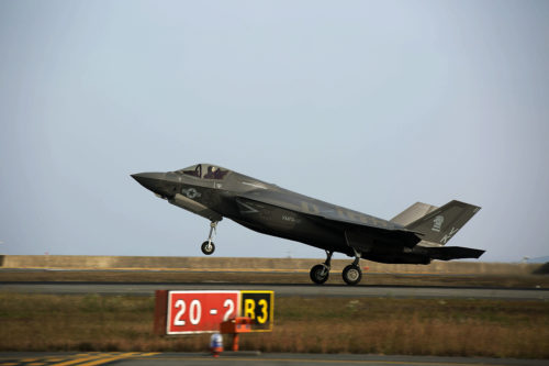 A U.S. Marine Corps F-35B Lightning II aircraft with Marine Fighter Attack Squadron (VMFA) 121 arrives at Marine Corps Air Station (MCAS) Iwakuni, Japan, Nov. 9, 2017. The remaining aircraft represent the last installment of F-35B Lightning IIs assigned to VMFA-121. The F-35B Lightning II is a fifth-generation fighter, which is the world's first operational supersonic short takeoff and vertical landing aircraft. The F-35B brings strategic agility, operational flexibility and tactical supremacy to III MEF with a mission radius greater than that of the F/A-18 Hornet and AV-8B Harrier II in support of the U.S. – Japan alliance.  (U.S. Marine Corps photo/video by Sgt. N.W. Huertas)