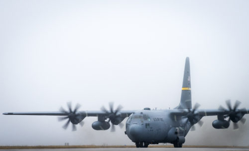 A C-130H taxis through the fog upon arrival at Eglin Air Force Base, Fla., Jan. 11. Air Force's first fully upgraded C-130H is here for test and evaluation on its new modified propeller system and engines. (U.S. Air Force photo/Samuel King Jr.)
