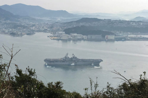 SASEBO, Japan (Jan. 14, 2018) The amphibious assault ship USS Wasp (LHD 1) arrives at Fleet Activities Sasebo. Wasp, which has undergone significant upgrades to be able to land and launch the U.S. Marine Corp's F-35B Join Strike Fighter, will replace USS Bonhomme Richard (LHD 6) as the forward-deployed amphibious assault ship in 7th Fleet. (U.S. Navy hhoto by Capt. Thomas Shultz/Released)