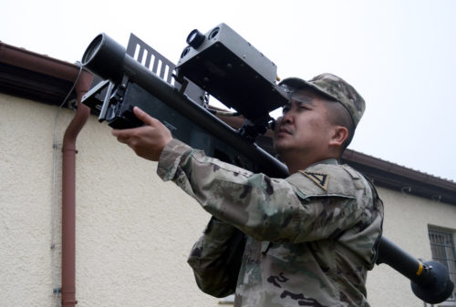 U.S. Army Capt. Richard Tran, an air defense officer, and an observer coach trainer with the Warhog Team, Joint Multinational Readiness Center, trains with an FIM-92 Stinger Man-Portable, Air Defense Missile System at the Hohenfels Training Area, Hohenfels, Germany, Jan. 10, 2018. The training was in preperation of future rotational exercises where the OCT's will start evaluating two-man Stinger Teams for the first time in approximately 15  years. (U.S. Army photo by Staff Sgt. David Overson)