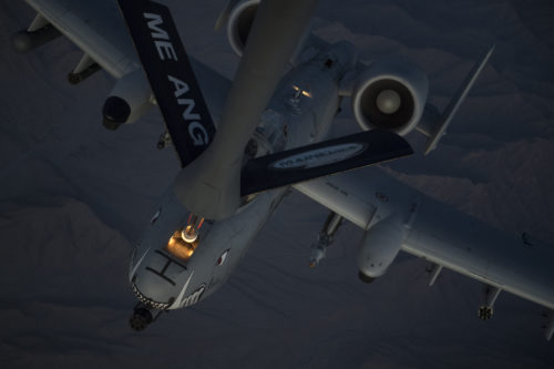 A U.S. Air Force A-10 Thunderbolt II receives fuel from a KC-135 Stratotanker, assigned to the 340th Expeditionary Air Refueling Squadron Detachment 1, during a refueling mission over Afghanistan, Feb. 7, 2018. The A-10s recently deployed to Kandahar Airfield where its ability to deliver a wide variety of precision munitions and devastating firepower from its 30mm cannon make it an excellent choice to support the increased airpower requirement in Operation Freedom's Sentinel. (U.S. Air Force Photo by Tech. Sgt. Paul Labbe)