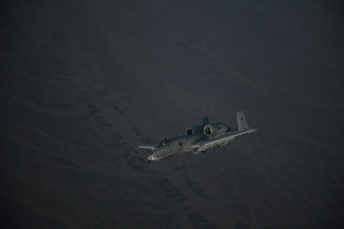 A U.S. Air Force A-10 Thunderbolt II departs after receiving fuel from a KC-135 Stratotanker, assigned to the 340th Expeditionary Air Refueling Squadron Detachment 1, over Afghanistan, Feb. 7, 2018. The A-10s deployed to Kandahar Airfield to provide the additional close air support and airpower necessary to support the U.S. Army Security Force Assistance Brigade's arrival in early March 2018. (U.S. Air Force Photo by Tech. Sgt. Paul Labbe)