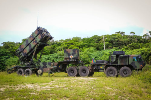 A patriot missile launcher system part of 1st Battalion, 1st Air Defense Artillery Regiment, sits in a training area during the unit's table gunnery training exercise on Kadena Air Base in Japan, Oct. 19, 2017.  (U.S. Army Photo by Capt. Adan Cazarez)